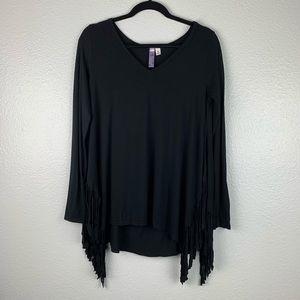 Alya Black Fringe Long-sleeve Top